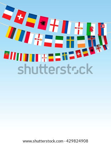 Business background with world bunting flags. Vector illustration