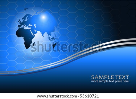 Business background with world globe, EPS10 transparency vector.