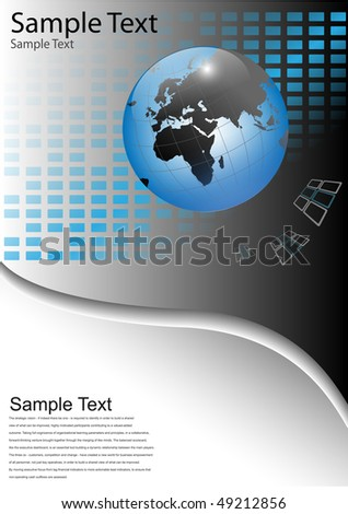 Business background with world globe, grey and blue, vector illustration.