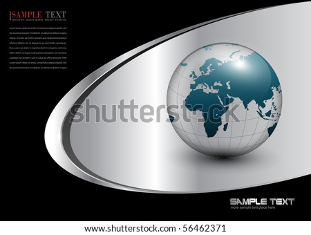 Business background with world globe silver, black. - stock vector