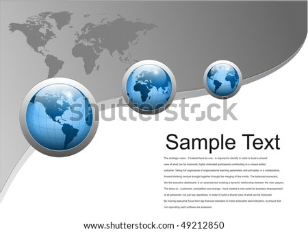 Business background with world globes, grey and blue, vector illustration. - stock vector