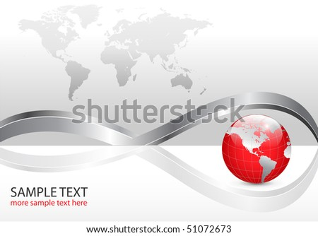 Business background with world map and red earth globe, silver metallic, vector illustration. - stock vector