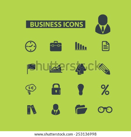 business, bank, investment icons, signs, illustrations set, vector - stock vector