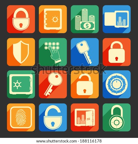 Business banking finance lock safe icons  set of security protection credit circle isolated vector illustration
