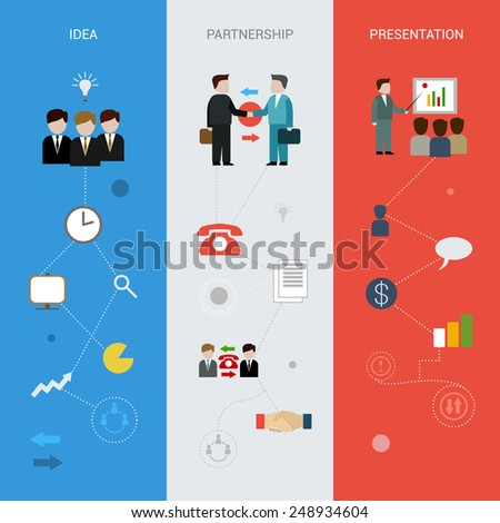 Business banners vertical set with idea partnership presentation elements isolated vector illustration - stock vector