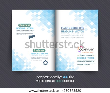 Business Bi-Fold Brochure Design Abstract Squares Pattern. Corporate Leaflet, Clean Cover Template - stock vector