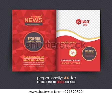Business Bi-Fold Brochure Design. Corporate Leaflet, Cover Template - stock vector