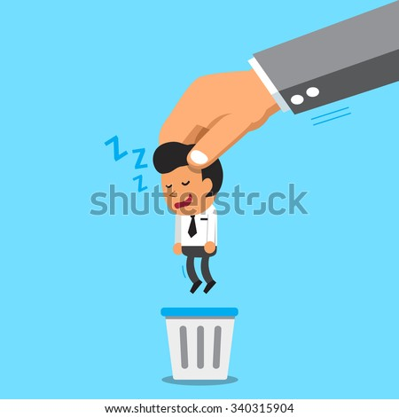 Business big hand throwing a sleeping businessman to trash bin - stock vector