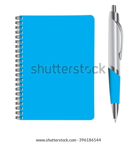 business blue note book and pan set vector illustration