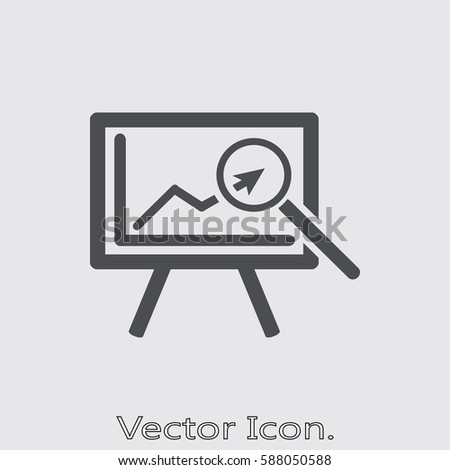 Business board chart presentation and results of graphic research. Icon isolated sign symbol and flat style for app, web and digital design. Vector illustration.