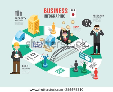 Business board game concept infographic step to successful,vector illustration - stock vector