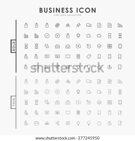 business bold and thin outline icons - stock vector