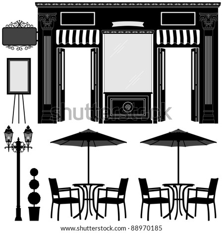 Business Boutique Commercial Shop Store Lot Exterior Design - stock vector