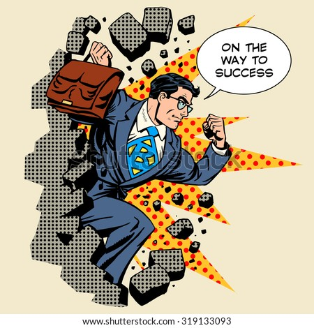 Business breakthrough success businessman hero breaks through the wall retro style pop art