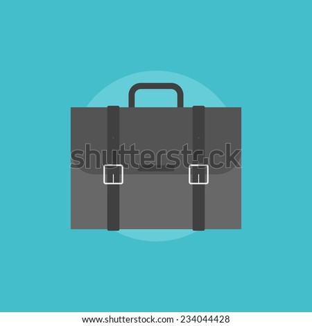 Business briefcase for travelling. Flat icon modern design style vector illustration concept. - stock vector
