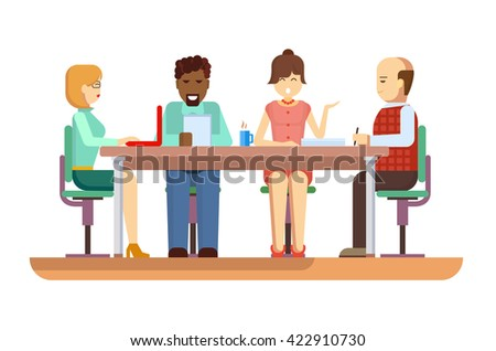 Business briefing flat design characters - stock vector