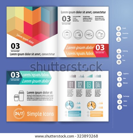 Business brochure, booklet mockup design template, with infographic. Layout template. - stock vector