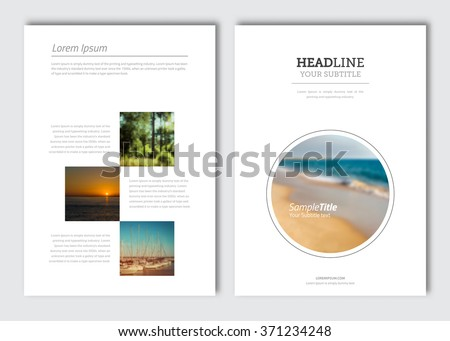 Business brochure design template. Vector travel flyer layout, blur background with elements for magazine, cover, poster design. A4 size. - stock vector