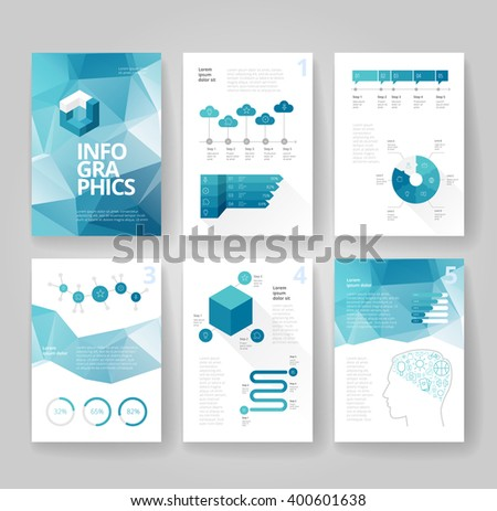 Business brochure design template with infographics. Vector illustration.