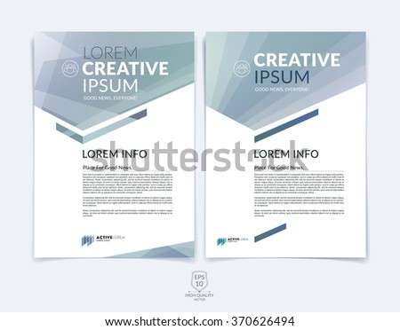 Business brochure, flyer and cover design layout template with light grey geometric triangle shapes and colourful blurred backgrounds. Vector illustration.