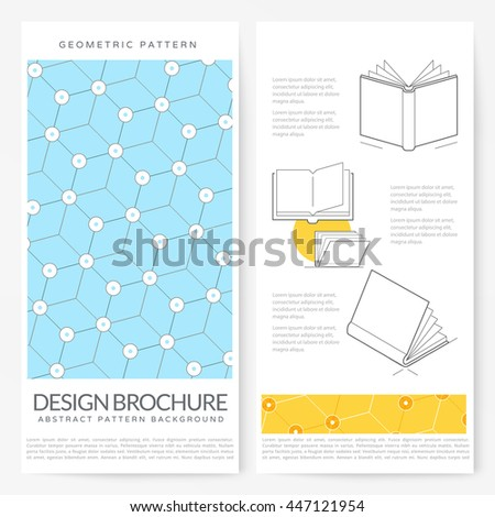 Business brochure flyer design layout template: Graphic design brochure with geometric pattern background - stock vector