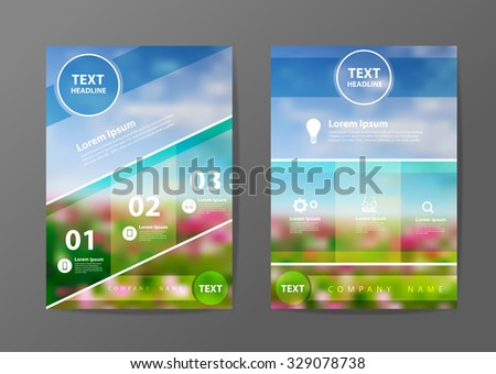 Business brochure flyer design layout template in A4 size, With blurred of flowers background, Vector illustration modern design - stock vector