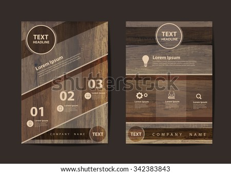 Business brochure flyer design layout template in A4 size, With texture of wood background, Vector illustration modern design