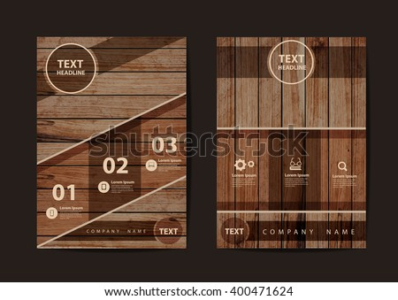 Business brochure flyer design layout template in A4 size, With texture of wood background, Vector illustration modern design ( Image trace of wooden background )