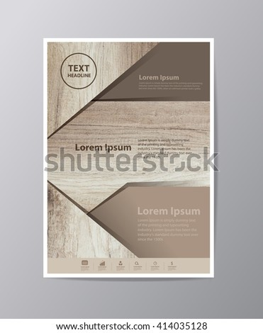 Business brochure flyer design layout template in A4 size, With texture of wood background, Vector illustration modern design  ( Image trace of wooden background ) - stock vector