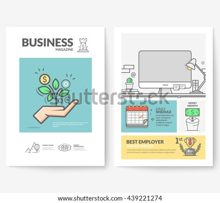 Business brochure flyer design layout template, with concept icons: Company profile. - stock vector