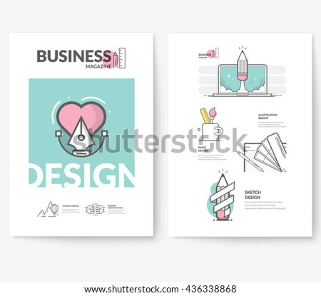 Business brochure flyer design layout template, with concept icons: Graphic illustration. - stock vector