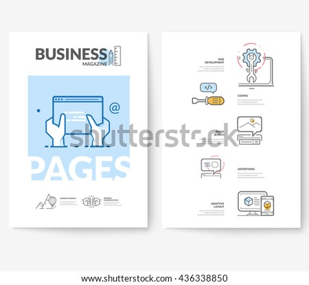 Business brochure flyer design layout template, with concept icons: Web site design development. - stock vector