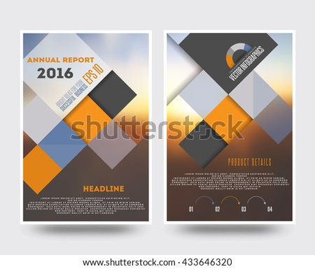 Business brochure flyer design template in A4 size, with blur background - stock vector