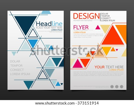 business brochure flyer design template vector.geometric triangle abstract background. layout in A4 size - stock vector