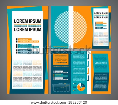 Business brochure layout, three fold flyer template design, presentation cover and pages  with modern art elements in blue, yellow colors and creative solutions for design and decoration - stock vector