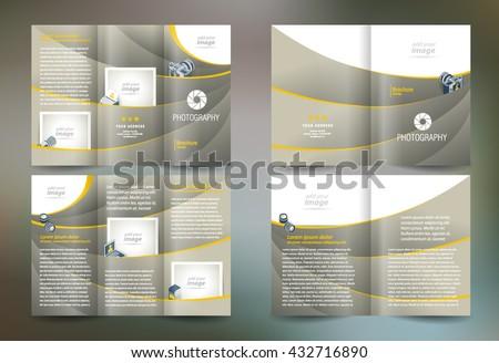 Business brochure set design template folder booklet tri-fold photography, diaphragm, photo, camera - stock vector