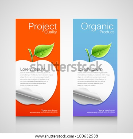 Business brochure template, concept apple orange and blue background, vector illustration - stock vector