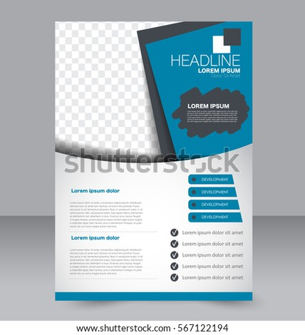 Blue Business Three Fold Brochure Annual Stock Vector 435463678