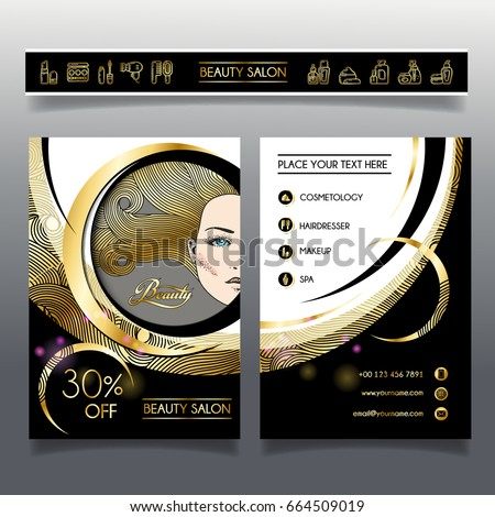 Vetor stock de business brochure template beauty salon hairdressing business brochure template for beauty salon and hairdressing shop vector illustration face of girl with reheart Gallery