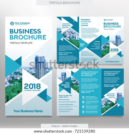 Business Brochure Template Tri Fold Layout Stock Vector