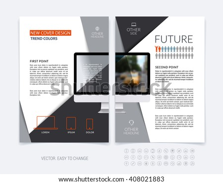 Business brochure template layout, abstract flyer design, cover report, magazine, booklet in A4 with diagonal shapes with triangle, computer and infographics. Minimal vector.