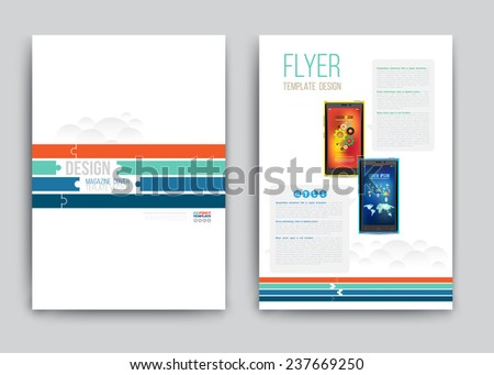 Business Brochure template with smartphones. Vector illustration.   - stock vector
