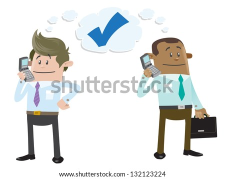 Business Buddies make a deal on the telephone - stock vector