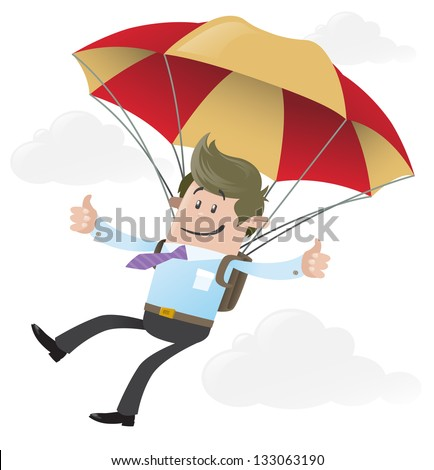 Business Buddy with Parachute - stock vector