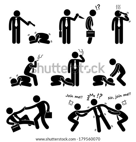 Business Bullying Backstab Competition Stick Figure Pictogram Icon - stock vector