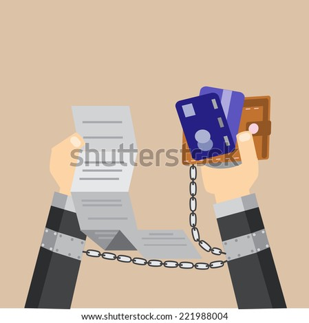 Business burden with credit card - stock vector