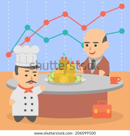 business businessman client pairs cook deal transaction character - stock vector