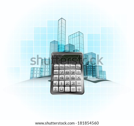business calculation of modern office city district vector concept illustration - stock vector