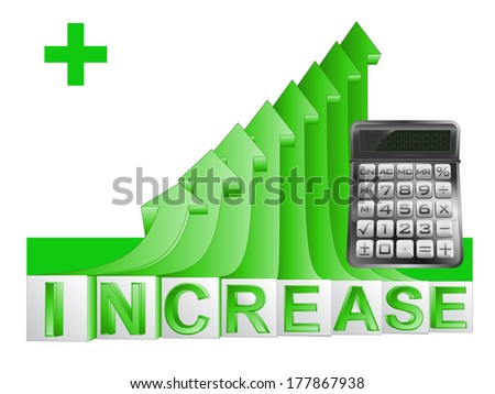 business calculator on green rising arrow graph vector illustration - stock vector