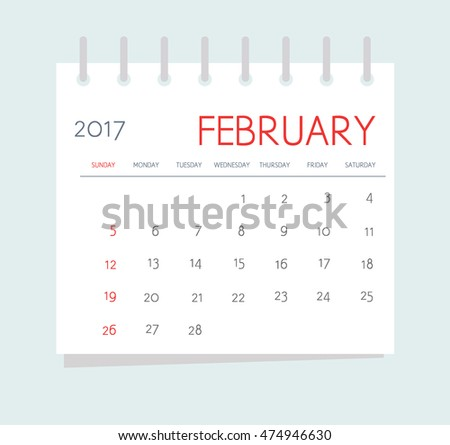 Business calendar 2017 of February. Notebook isolated page. Week starts Sunday. Vector illustration